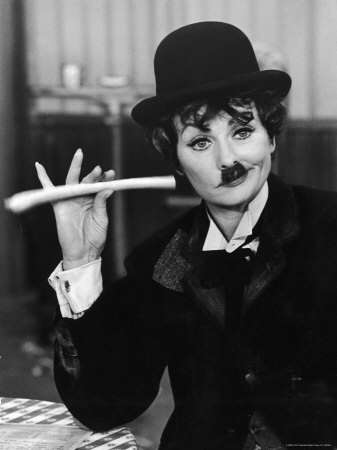 Comedien/Actress Lucille Ball imitating Charlie Chaplin on her New Year's TV show Stretched Canvas Print