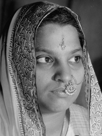 Woman of the Hindu Faith, Wearing Head Dress and with Ornamental ...