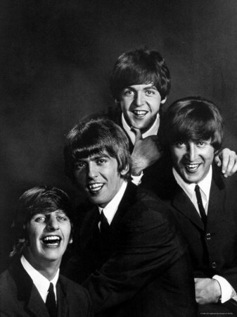 Ringo Starr, George Harrison, Paul McCartney and John Lennon Stretched Canvas Print