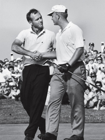 Golfer Jack Nicklaus and Arnold Palmer During National Open Tournament Stretched Canvas Print