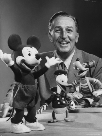 Walt Disney, of Walt Disney Studios, Posing with Some Famous Cartoon Characters Stretched Canvas Print