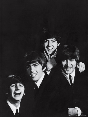 Ringo Starr, George Harrison, Paul McCartney and John Lennon of the English Rock Group the Beatles Stretched Canvas Print