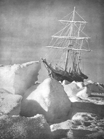 "Explorer Ernest Shackleton's Ship ""Endurance"" Trapped and Slowly Crushed by Ice in Weddell Sea Stretched Canvas Print"