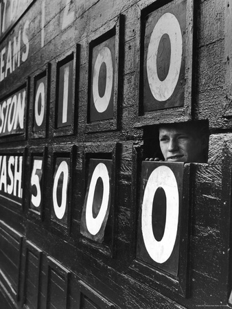 Boy Running Scoreboard at Griffith Stadium During the Baseball Game Stretched Canvas Print