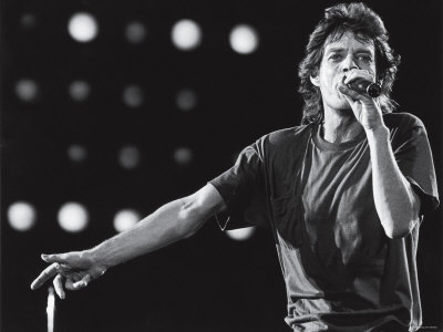 Rolling Stones Lead Singer Mick Jagger Performing at the Live Aid Concert Stretched Canvas Print