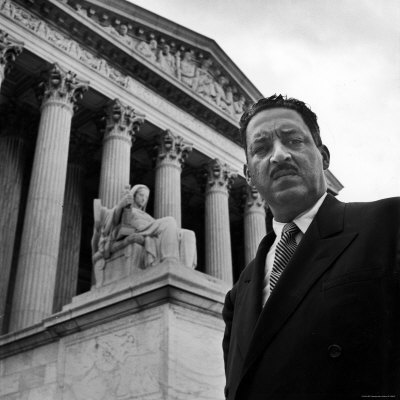 NAACP Chief Counsel Thurgood Marshall Standing on Steps of the Supreme Court Building Stretched Canvas Print