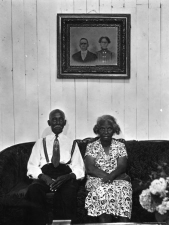 Mr. and Mrs. Albert Thornton, Sr. the Son of a Slave, a Sharecropper and Independent Farmer Stretched Canvas Print
