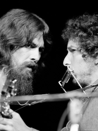 George Harrison and Bob Dylan Performing Together at Rock Concert Benefiting Bangladesh Stretched Canvas Print