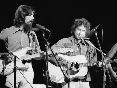 George Harrison and Bob Dylan during the Concert for Bangladesh at Madison Square Garden Stretched Canvas Print