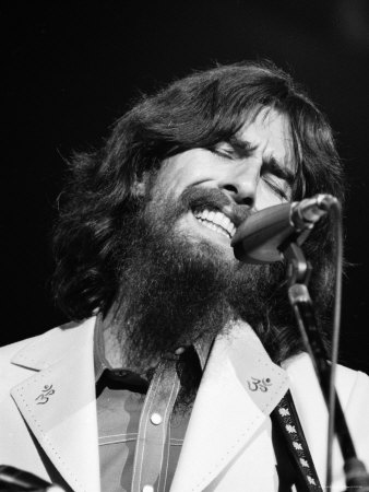 George Harrison Performing at a Rock Concert Benefiting Bangladesh, aka Kampuchea Stretched Canvas Print