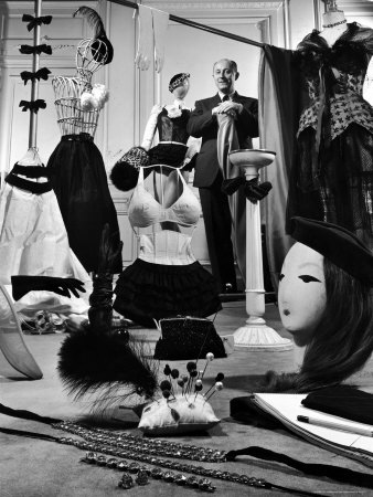 Dress Designer Christian Dior in His Workshop Stretched Canvas Print
