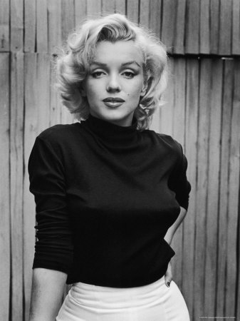 Portrait of Actress Marilyn Monroe on Patio of Her Home Stretched Canvas Print