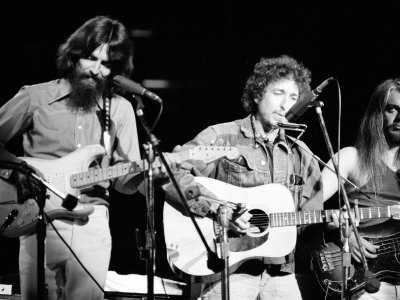 George Harrison, Bob Dylan and Leon Russell Performing for Bangladesh at Madison Square Garden Stretched Canvas Print