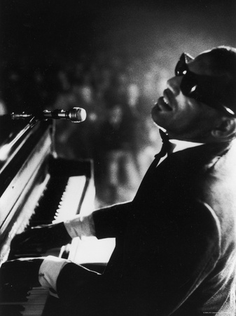 Ray Charles Playing Piano in Concert Stretched Canvas Print