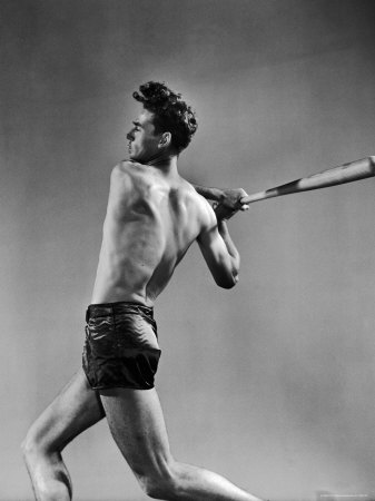 Ted Williams Showing Off His Powerful Swing Stretched Canvas Print