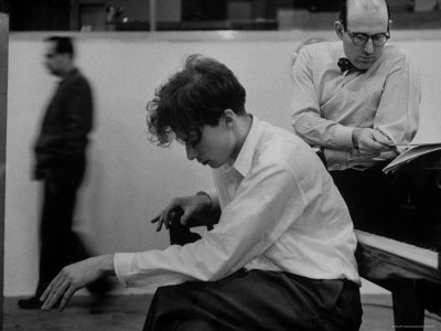 Pianist Glenn Gould Listening Intensely to Performance of Bach's Goldberg Variations Played Back Stretched Canvas Print