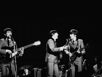 Pop Music Group the Beatles in Concert George Harrison, Paul McCartney, John Lennon Stretched Canvas Print