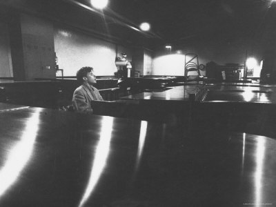 Canadian Pianist Glenn Gould Singing at Columbia Recording Studio Stretched Canvas Print