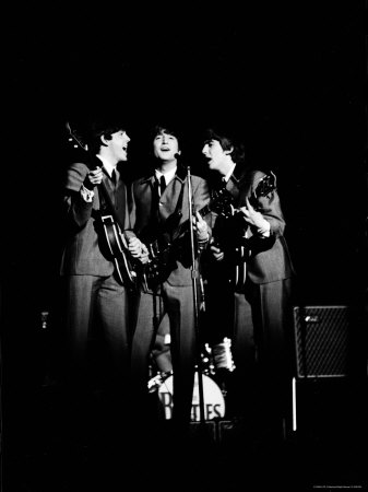 Pop Music Group the Beatles in Concert Paul McCartney, John Lennon, George Harrison Stretched Canvas Print