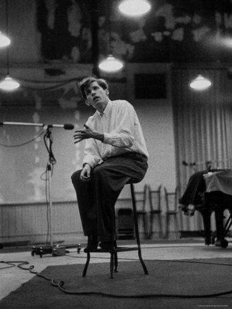 Canadian Pianist Glenn Gould Listens in Columbia Recording Studio Decides to Record Section Again Stretched Canvas Print