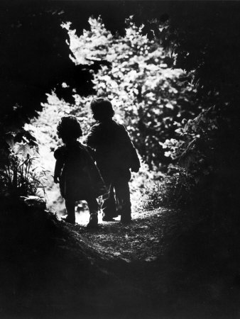 Children of Photographer with Eugene Smith Walking Hand in Hand in Woods Behind His Home Stretched Canvas Print