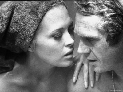 Faye Dunaway Practicing Scenes with Steve McQueen Stretched Canvas Print