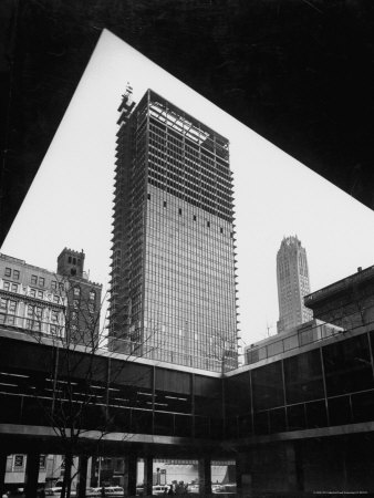 Construction of Modern Steel and Glass Seagram's Office Building on Park Avenue Stretched Canvas Print