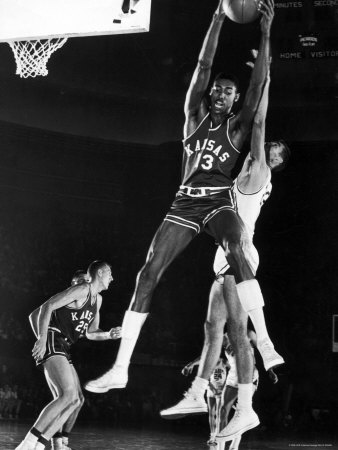 University of Kansas Basketball Star Wilt Chamberlain Playing in a Game Stretched Canvas Print
