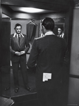 Gregory Peck Trying on Suit for His New Movie Man in the Grey Flannel Suit Stretched Canvas Print