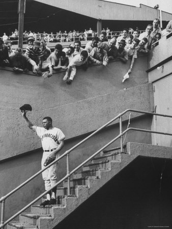 Fans Welcoming Giants Star Willie Mays at Polo Grounds Stretched Canvas Print