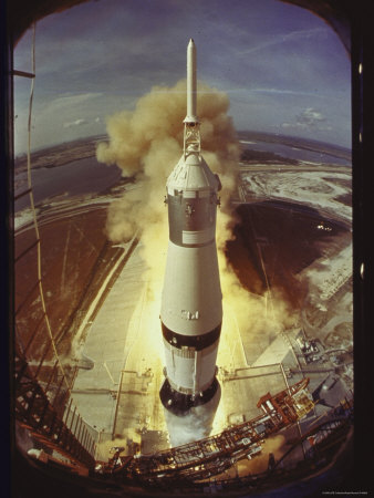 Apollo 11 Space Ship Lifting Off on Historic Flight to Moon Stretched Canvas Print