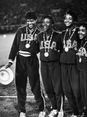 US Relay Team, Wilma Rudolph and Martha Hudson at Olympics Stretched Canvas Print