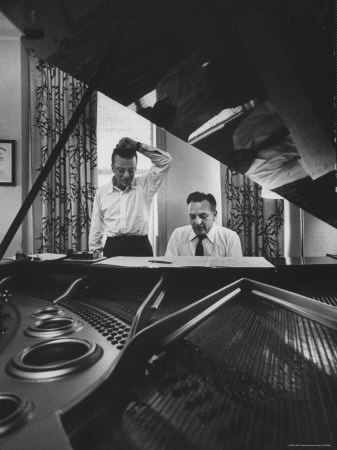 "Authors of ""My Fair Lady"", Allan Jay Lerner and Frederick Loewe, at Piano Working on Music Stretched Canvas Print"