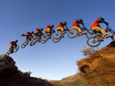 Mountain Biker Catches Air at Rampage Site near Virgin, Utah, USA Stretched Canvas Print
