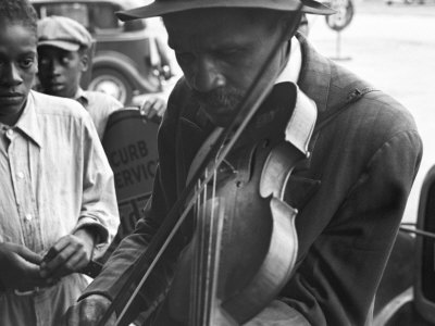 Blind Street Musician, West Memphis, Arkansas, c.1935 Stretched Canvas Print