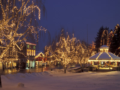 Gazebo and Main Street at Christmas, Leavenworth, Washington, USA Stretched Canvas Print