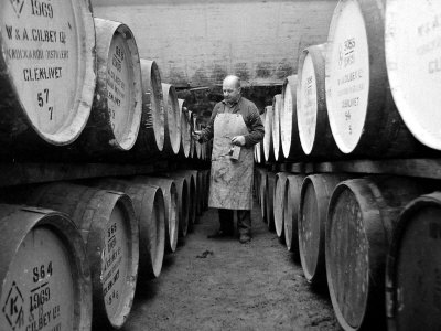 An Employee of the Knockando Whisky Distillery in Scotland, January 1972 Stretched Canvas Print