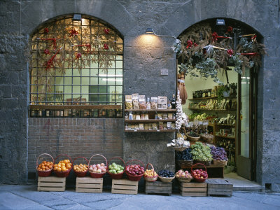 A Fruit and Vegetable Shop in Siena Stretched Canvas Print