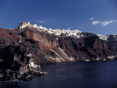 Village of Ia From Ferry, Santorini, Greece Stretched Canvas Print