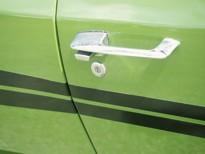 Door Handle of Green Car Stretched Canvas Print