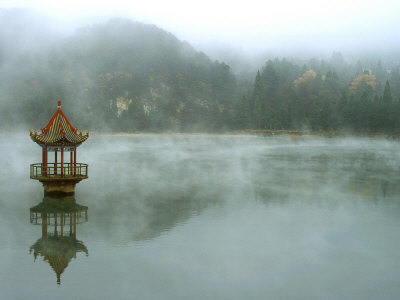 Lushan, China, Central Lake Pavilion Stretched Canvas Print