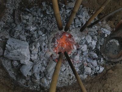 Archaeologists Use a Copper Age Method to Make Copper from Copper Ore Stretched Canvas Print