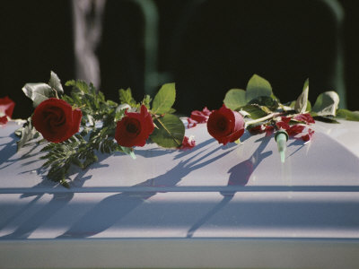 Roses Cover the Casket of an Officer Killed in the Pentagon on 9/11 Stretched Canvas Print