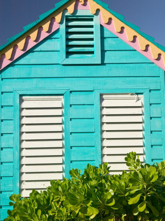 Colorful Cottage at Compass Point Resort, Gambier, Bahamas, Caribbean Stretched Canvas Print