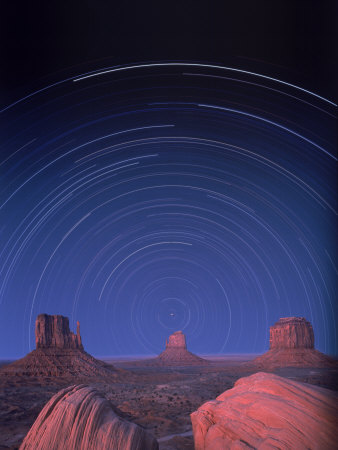 Star Trails Over Desert Landscape Stretched Canvas Print