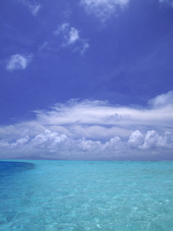 Water and Sky, Bora Bora, Pacific Islands Stretched Canvas Print
