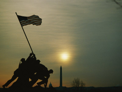 Silhouetted View of the Iwo Jima Memorial with the Capitol and Washington Monument Behind Stretched Canvas Print