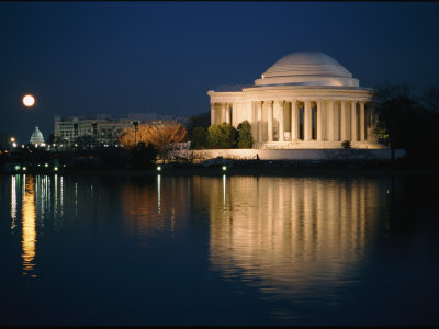 View of the Jefferson Memorial at Night Stretched Canvas Print