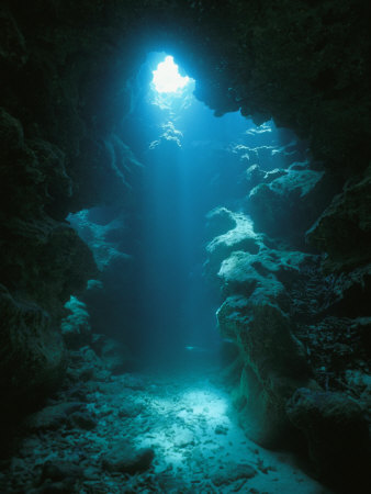 A Beam of Sunlight Illuminates an Underwater Cave Photographic Print