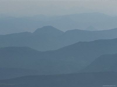Hazy Mountain Ridges in Provence Stretched Canvas Print